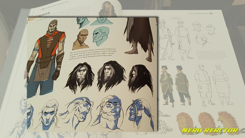 The antagonist, Zaheer, with his various design details.