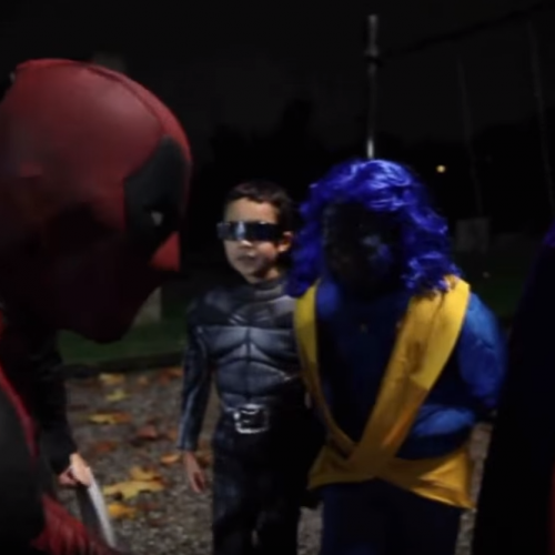 Ryan Reynolds made a video as Deadpool on Halloween with kid X-Men