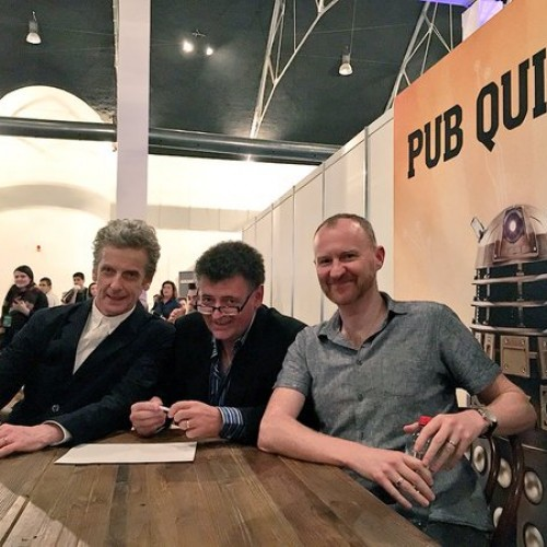 Peter Capaldi, Steven Moffat, and Mark Gatiss came in third place on a Doctor Who quiz