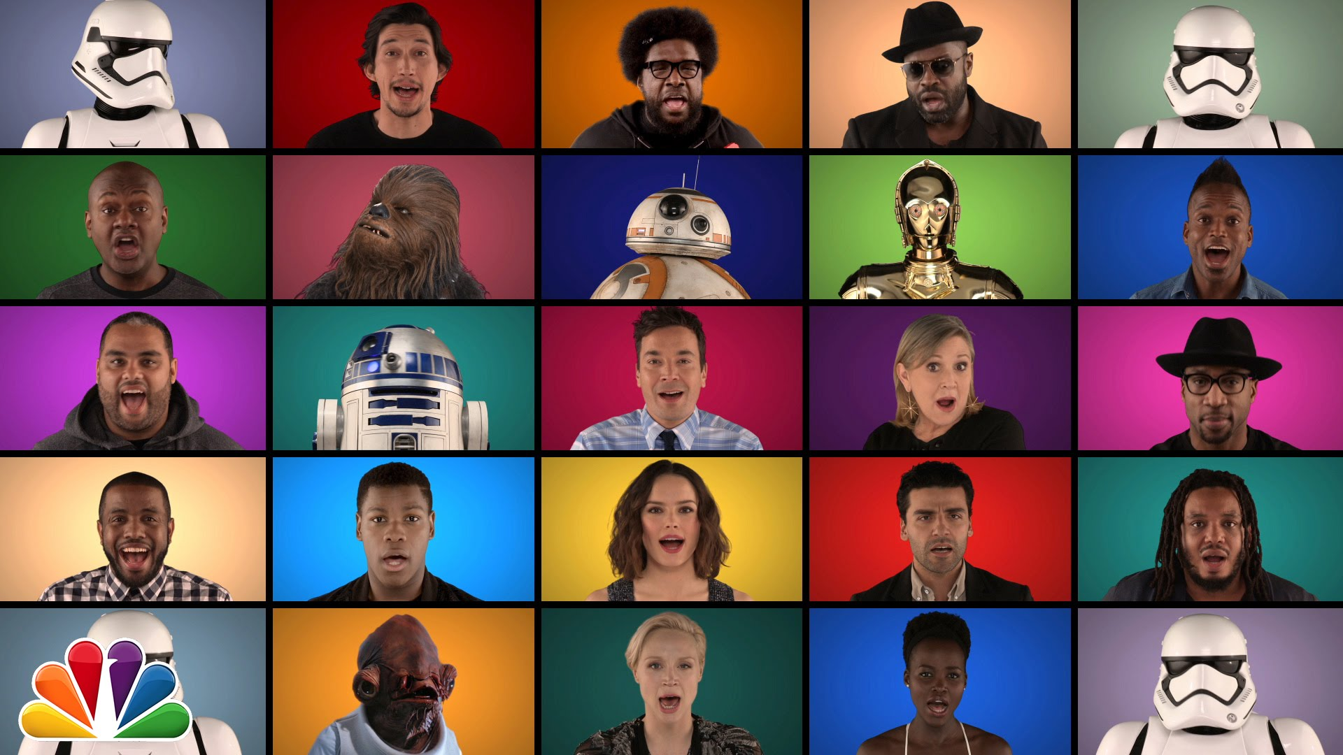Star Wars: The Force Awakens cast does Star Wars medley a