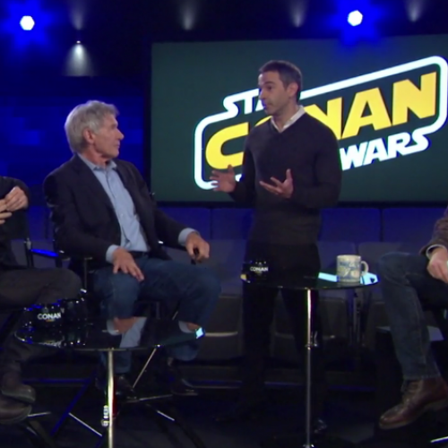 Conan's Jordan Schlansky interacts with the cast of Star Wars: The Force Awakens