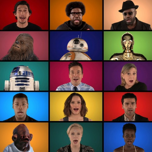 Star Wars: The Force Awakens cast does Star Wars medley a cappella