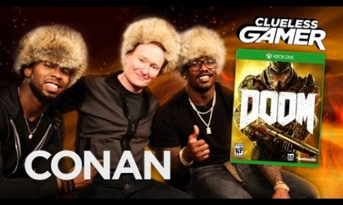 Conan plays Doom with Marshawn Lynch, Don Miller, and Josh Norman in new Clueless Gamer