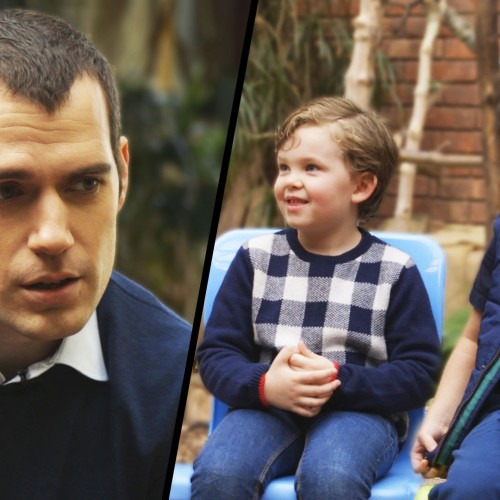 Henry Cavill asks kids who's better, Batman or Superman