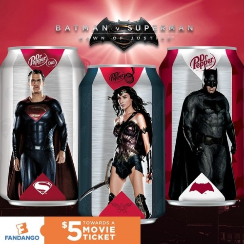 Dr. Pepper cans show off Wonder Woman, Batman and Superman