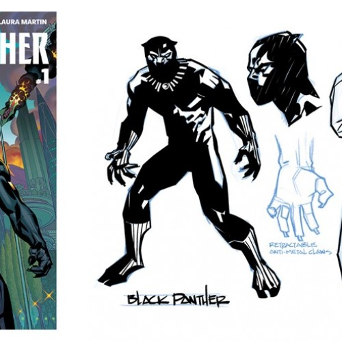 Preview panels for Black Panther's comic miniseries coming this April