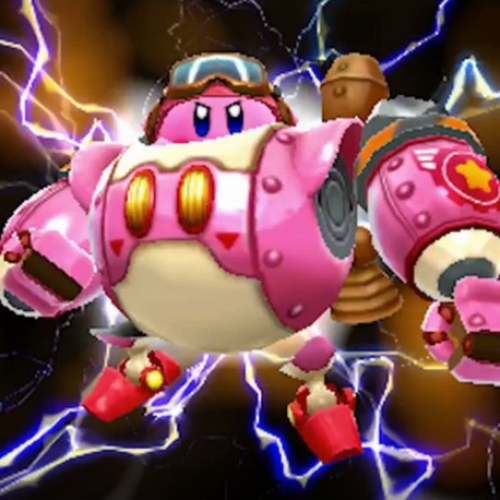 Kirby shows off his new toy in Kirby: Planet Robobot