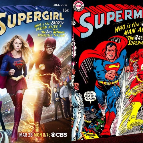 Supergirl and The Flash crossover poster pays homage to Superman comic cover