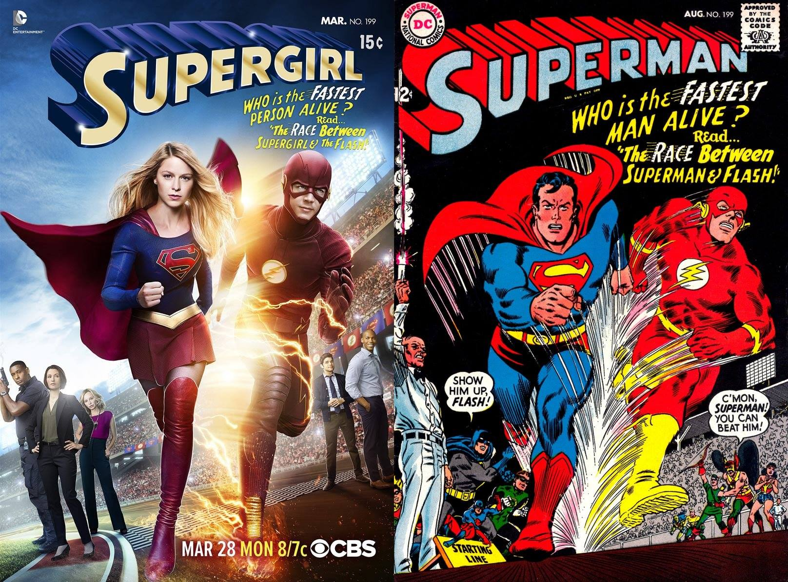 supergirl and the flash crossover poster pays homage to superman