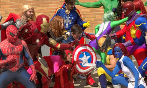 Avengers vs. X-Men flash mob hits New York City streets