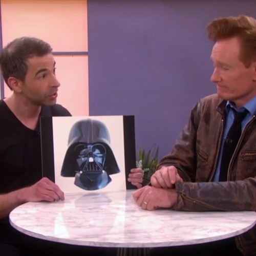 Conan checks out replica Darth Vader helmet