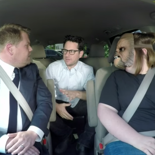 Viral sensation Chewbacca Mom carpools with James Corden and J.J. Abrams