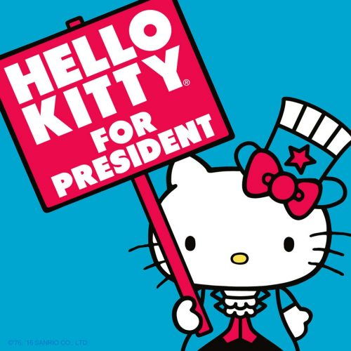 Hello Kitty announces her candidacy for President with some cool swag!