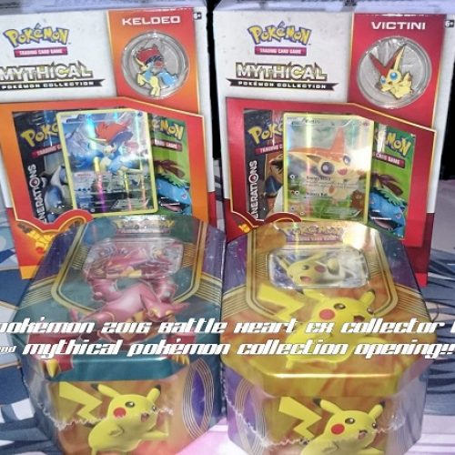 Pokémon 2016 Battle Heart EX Collector Tin & Mythical Boxes opening