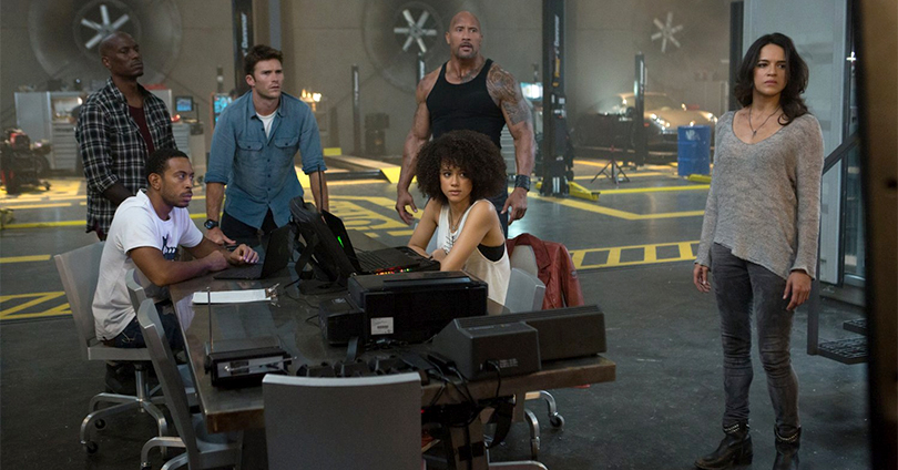 The Fate of the Furious - Tyrese Gibson, Ludacris, Scott Eastwood, Dwayne Johnson, Nathalie Emmanuel, and Michelle Rodriguez