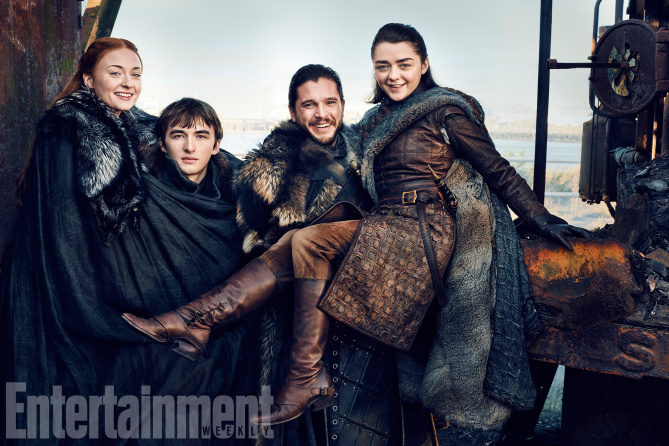 Game of Thrones Season 7 L-R: Sophie Turner, Isaac Hempstead Wright, Kit Harrington, and Maisie Williams Photograph by Marc Hom on November 22, 2016 in Belfast.