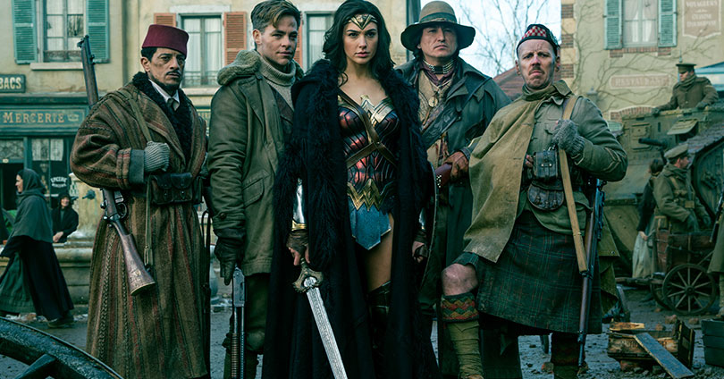 Wonder Woman - Saïd Taghmaoui, Chris Pine, Gal Gadot, Eugene Brave Rock, and Ewen Bremner