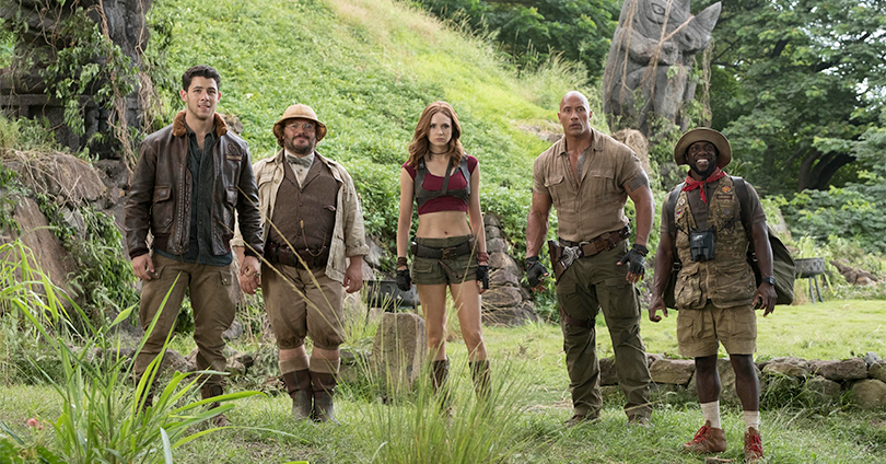 Jumanji: Welcome to the Jungle - Nick Jonas, Jack Black, Karen Gillan, Dwayne Johnson, and Kevin Hart