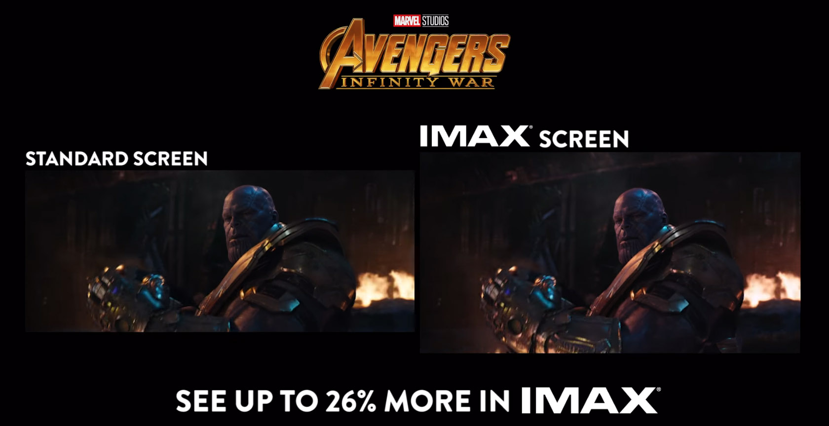 "Image result for IMAX' 1.9:1 aspect ratio works better for bigger characters of ""Infinity War"" gif"