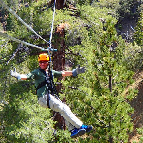 Ziplines at Pacific Crest has us ziplining in a forest 300 feet in the air