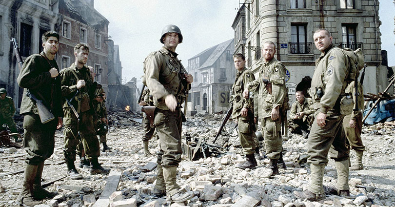 Saving Private Ryan - Adam Goldberg, Tom Hanks, Matt Damon, and Tom Sizemore