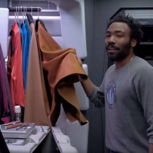 Donald Glover shows off his cape closet in the Millennium Falcon for Solo: A Star Wars Story