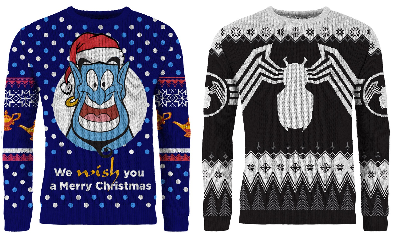 390bcd9d0c4 Get ready for the holidays with Venom and Genie ugly sweaters - Nerd ...