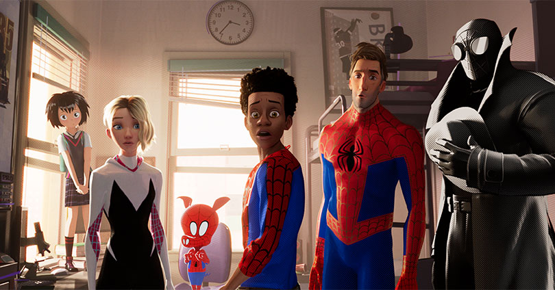 Spider-Man: Into the Spider-Verse - Sp//dr, Spider-Gwen, Spider-Ham, Miles Morales, Peter Parker, Spider-Man Noir
