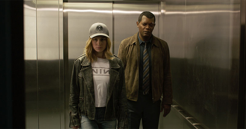 Captain Marvel - Brie Larson and Samuel L. Jackson