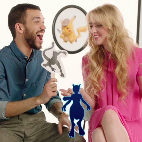 Pokemon: Detective Pikachu's Justice Smith and Kathryn Newton play a game of Guess that Pokemon