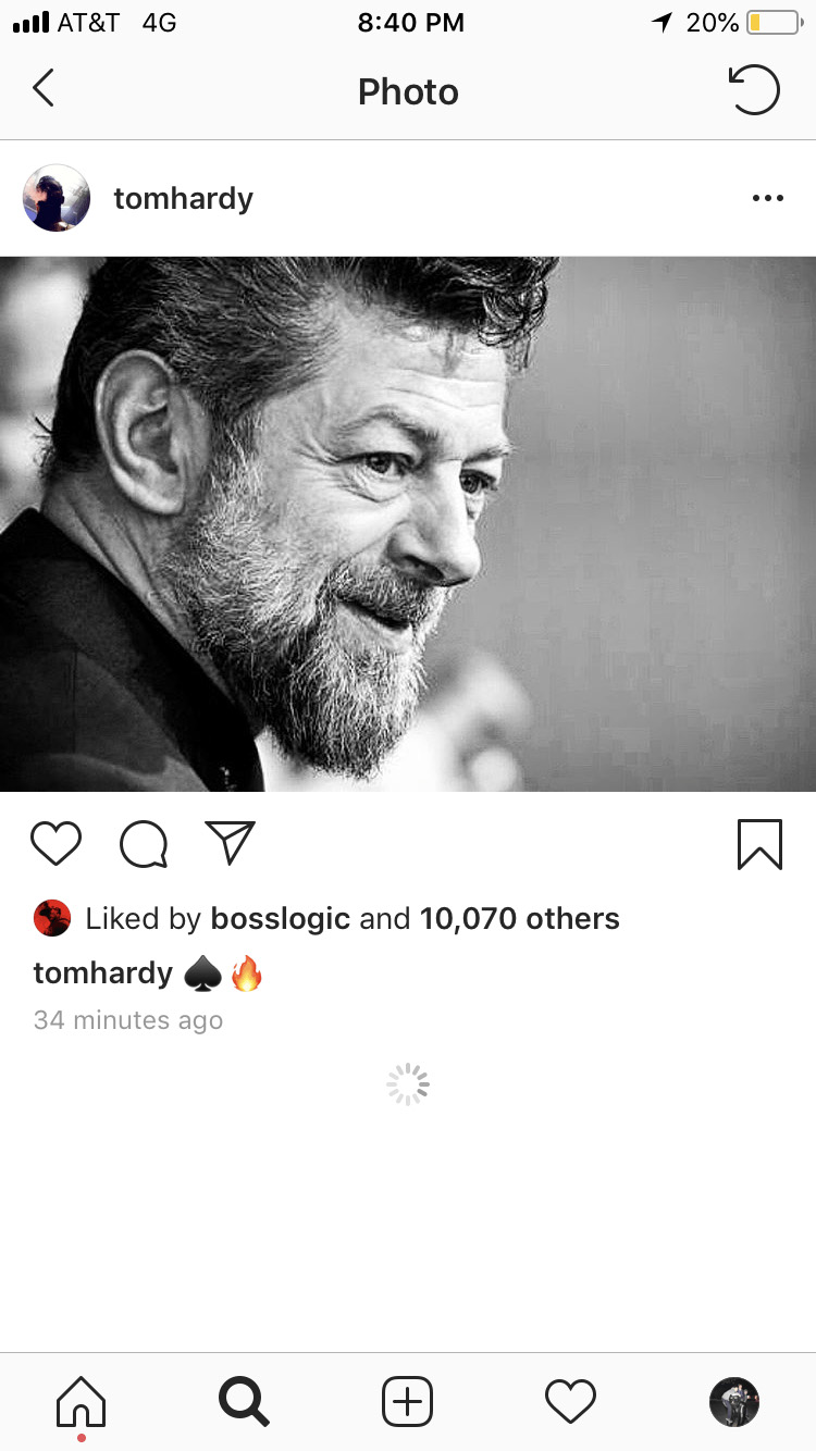 Tom Hardy Instagram Andy Serkis