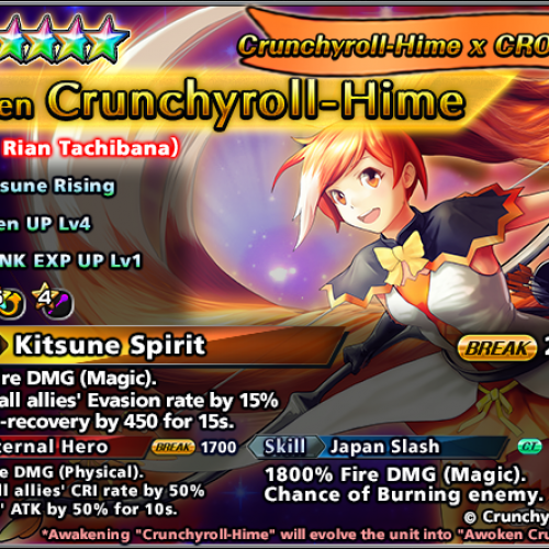 Crunchyroll mascot Hime joins mobile RPG Grand Summoners for limited event.