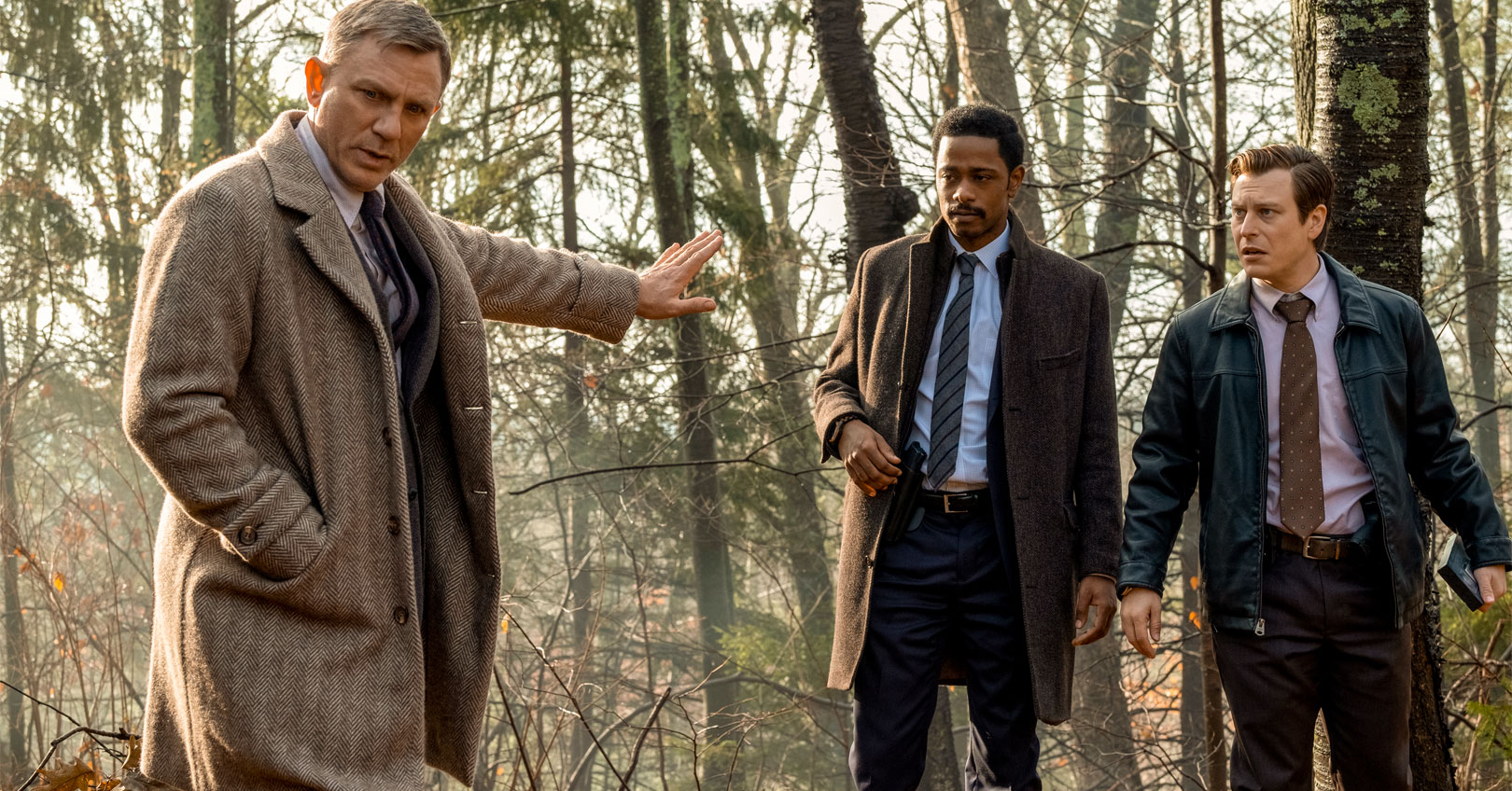 Knives Out - Daniel Craig, LaKeith Stanfield, and Noah Segan