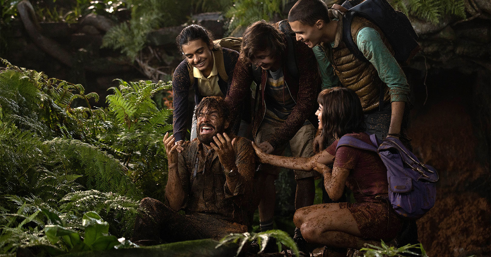 Dora and the Lost City of Gold - Eugenio Derbez, Madeleine Madden, Nicholas Coombe, Jeff Wahlberg, and Isabela Moner