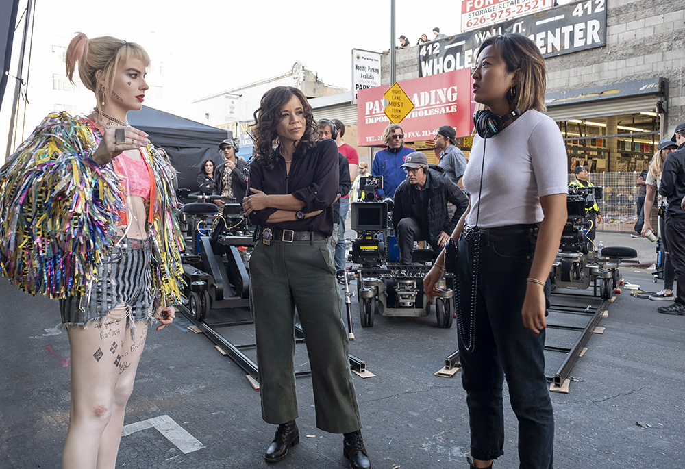 Birds of Prey Set with cathy yan, margot robbie and rosie perez