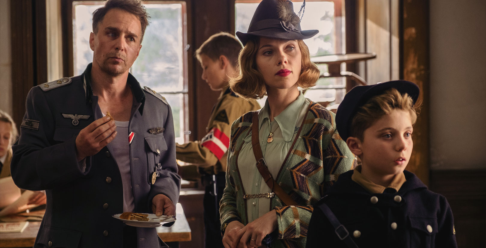 Jojo Rabbit - Sam Rockwell, Scarlett Johansson, and Roman Griffin Davis