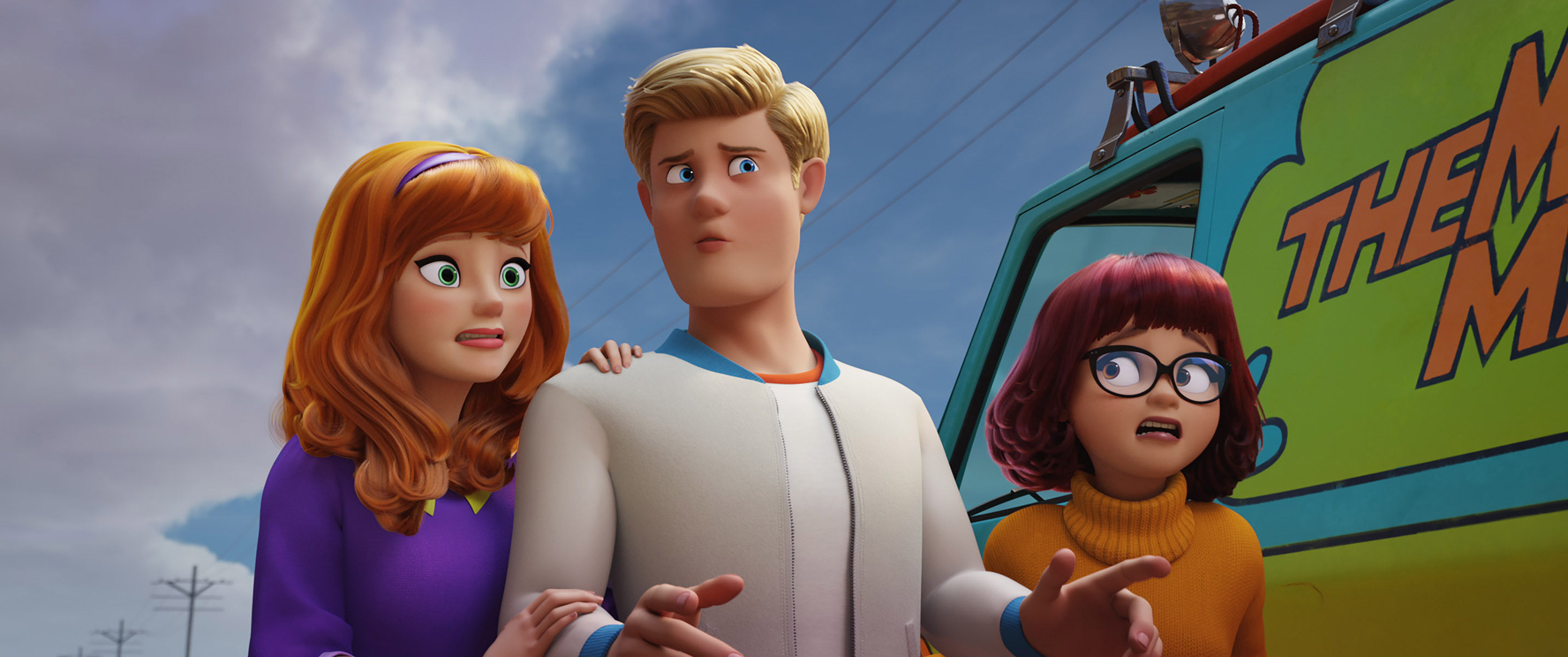"(L-r) Daphne voiced by AMANDA SEYFRIED, Fred voiced by ZAC EFRON and Velma voiced by GINA RODRIGUEZ in the new animated adventure ""SCOOB!"" from Warner Bros. Pictures and Warner Animation Group. Courtesy of Warner Bros. Pictures"