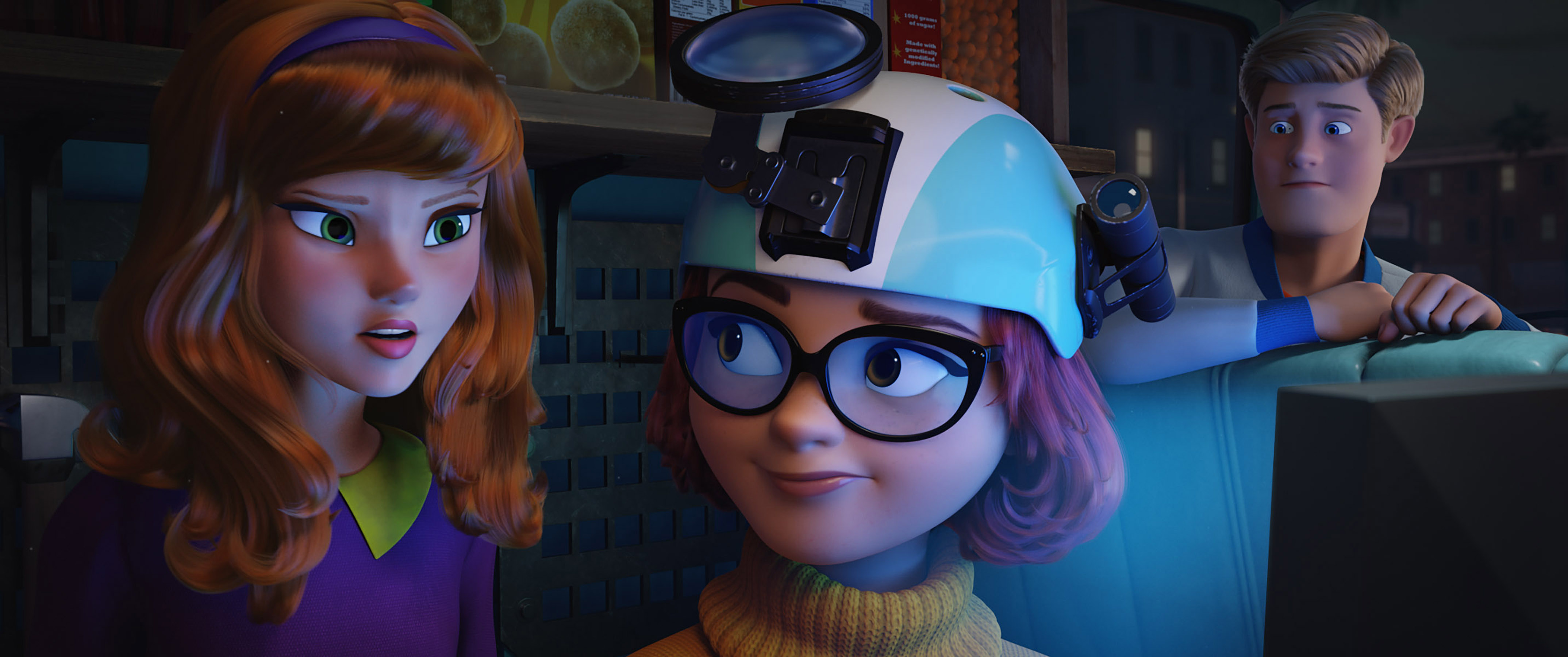 """(L-r) Daphne voiced by AMANDA SEYFRIED, Fred voiced by ZAC EFRON and Velma voiced by GINA RODRIGUEZ in the new animated adventure """"SCOOB!"""" from Warner Bros. Pictures and Warner Animation Group. Courtesy of Warner Bros. Pictures"""