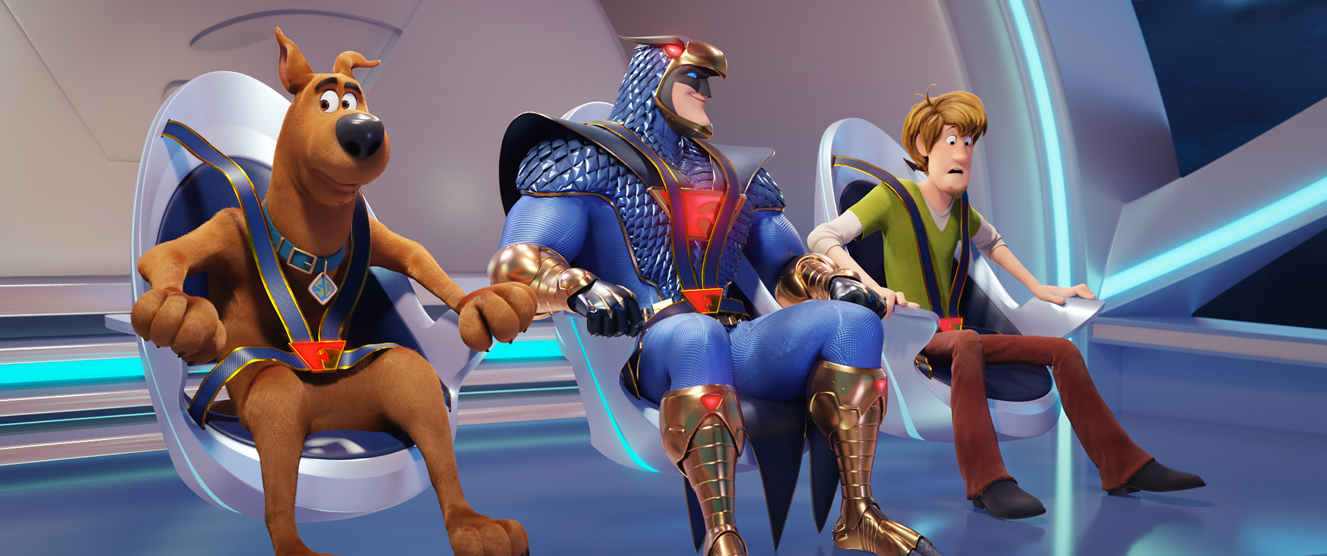 """(L-r) Scooby-Doo voiced by FRANK WELKER, Blue Falcon voiced by MARK WAHLBERG and Shaggy voiced by WILL FORTE and in the new animated adventure """"SCOOB!"""" from Warner Bros. Pictures and Warner Animation Group. Courtesy of Warner Bros. Pictures"""