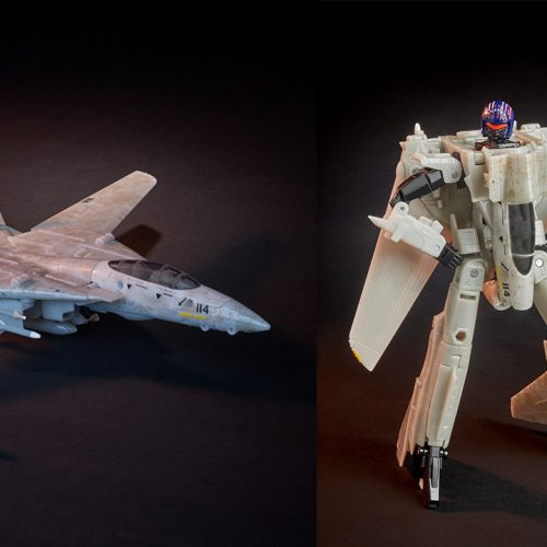 15 images of Transformers and Tog Gun's Maverick figure