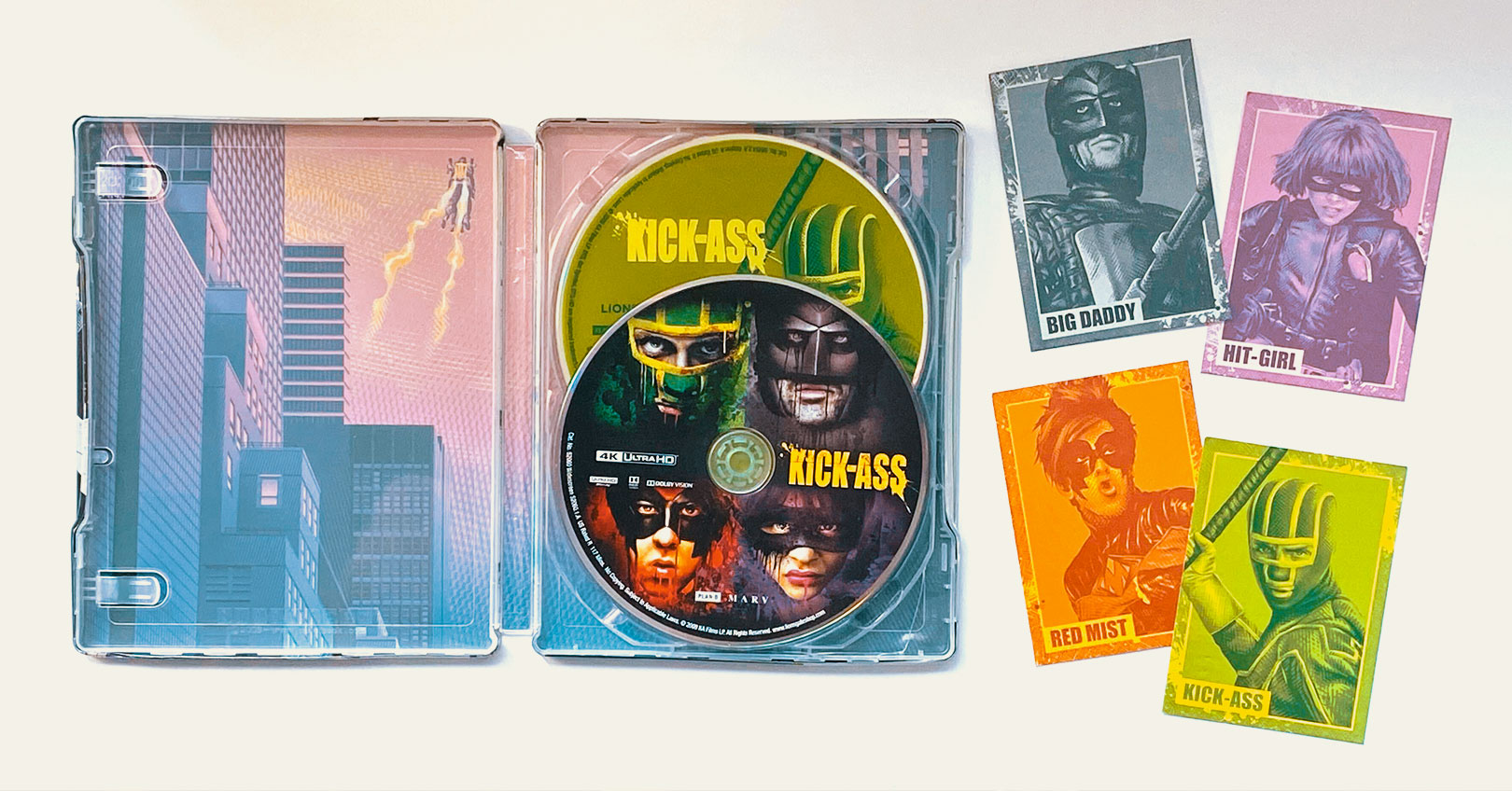 Kick-Ass 4K Ultra HD Steelbook Interior and Reflective Collectible Cards