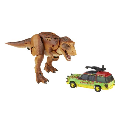 Transformers and Jurassic Park collide with transforming T. rex and JP vehicle figures